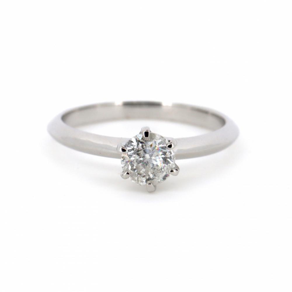 14K White Gold, 0.71ct Diamond, Solitaire Ring