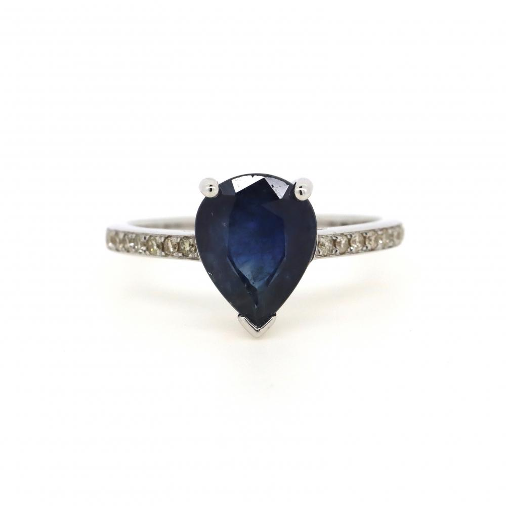 14K White Gold, Sapphire and Diamond, Classic Ring