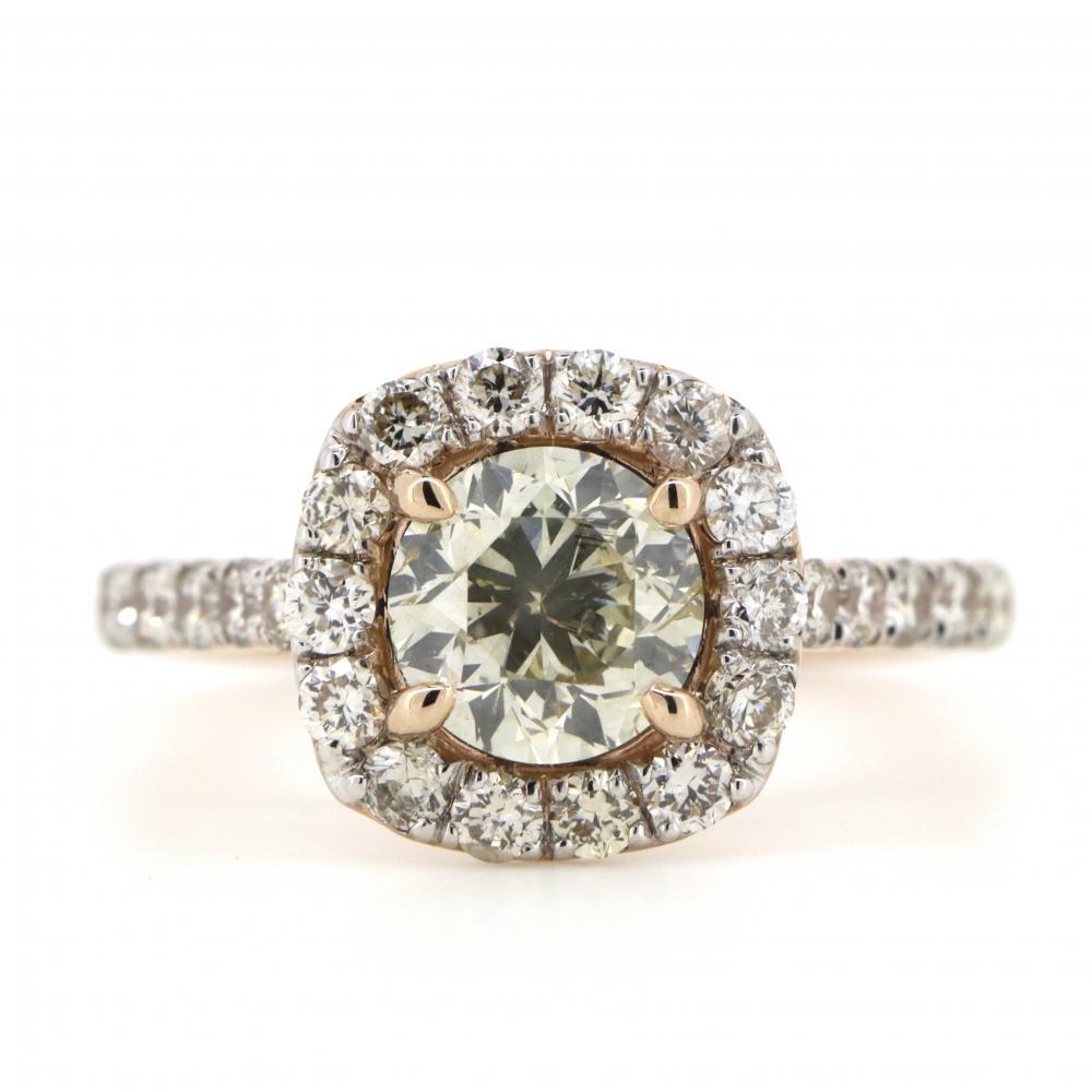 14K Rose Gold, Yellow Diamond, Halo Ring