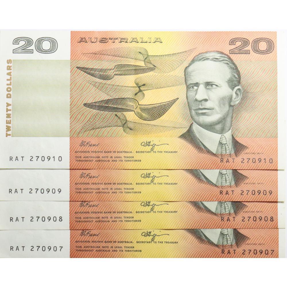 4 x Australian 20 Dollar Bank Note