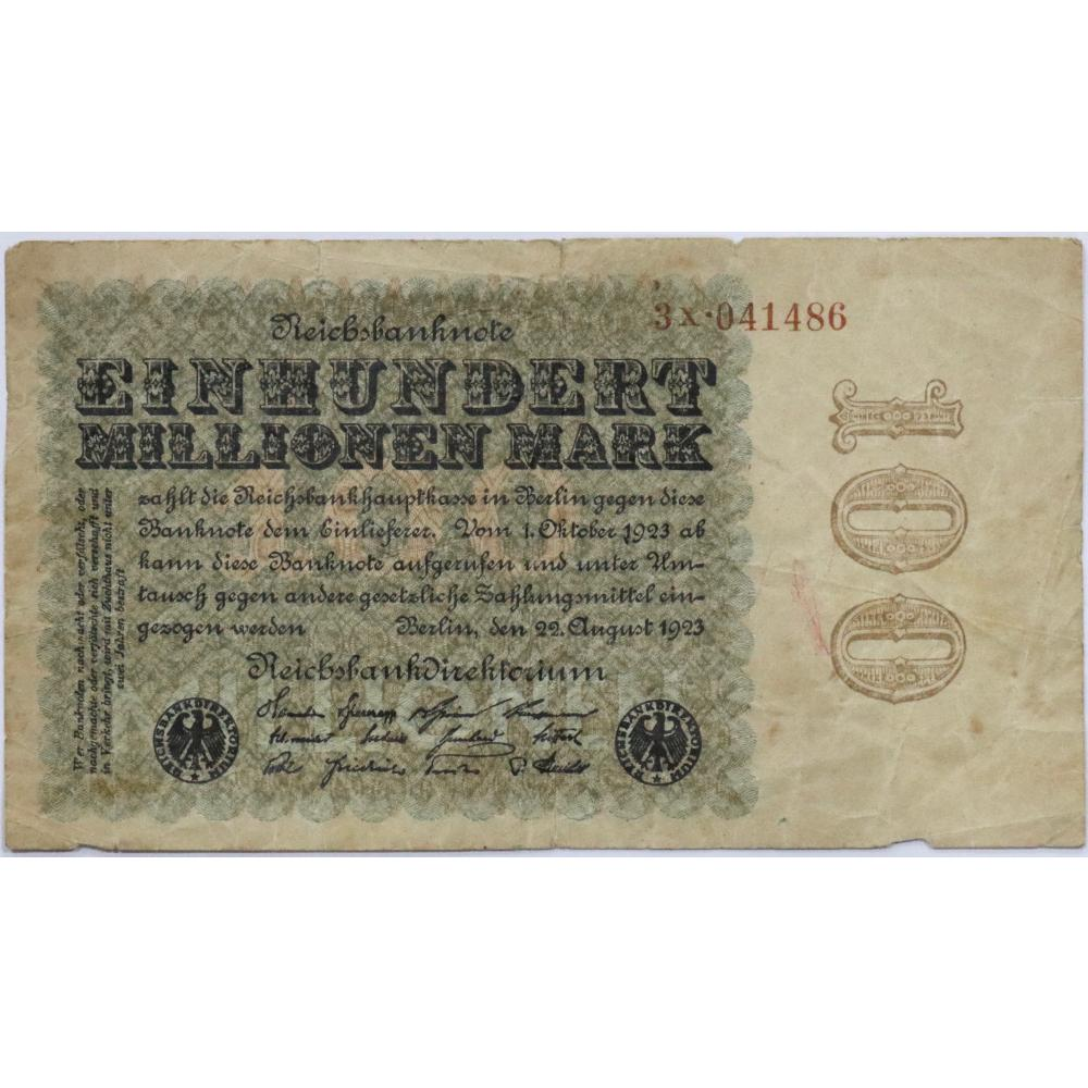 Post World War I - German 100 Million Mark Bank Note