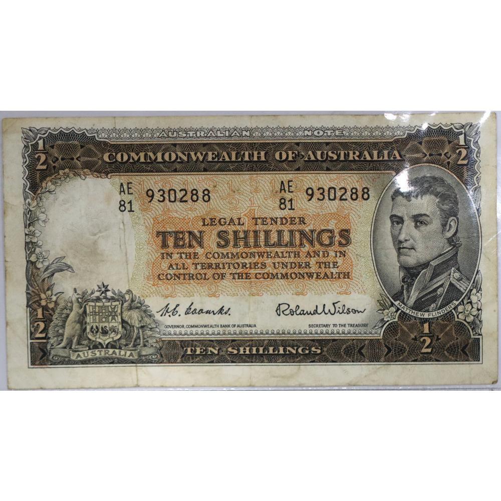 1x Commonwealth Of Australian, 10 Shillings Banknote