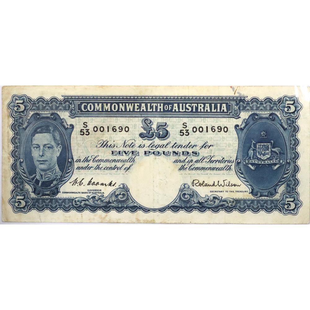 1x Commonwealth of Australia, Five Pound Banknote
