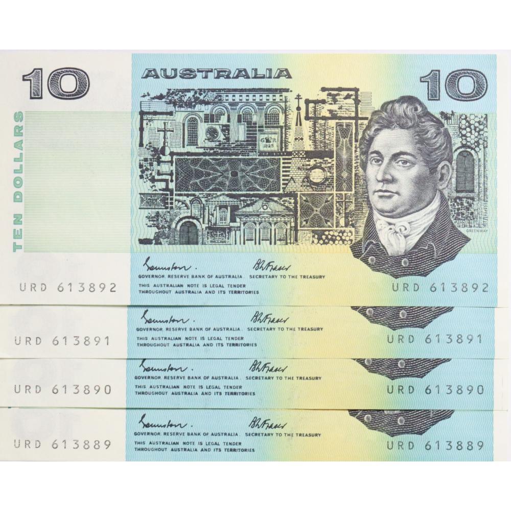 4 x Australian 10 Dollar Bank Note