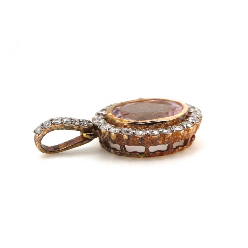 14K Rose Gold, Morganite and Diamond, Vintage Inspired Pendant