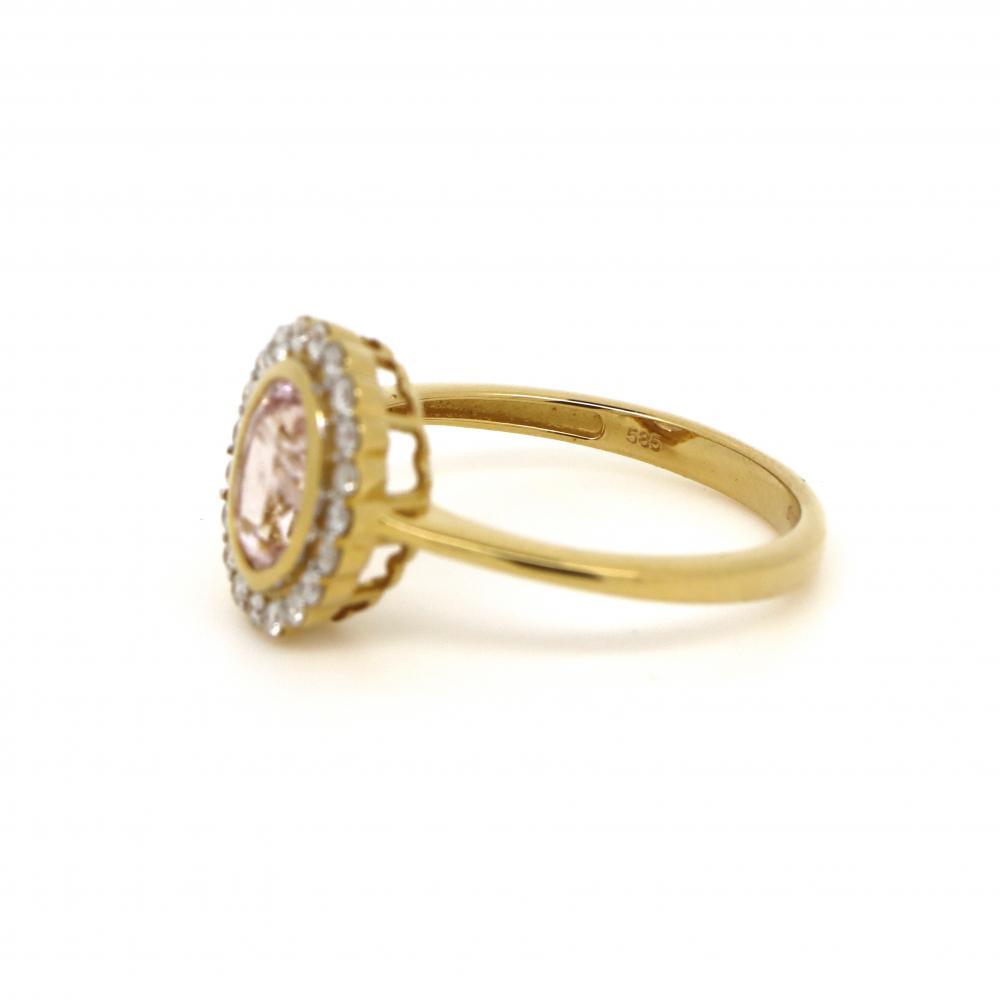 14K Yellow Gold, Morganite and Diamond, Vintage Style Halo Ring