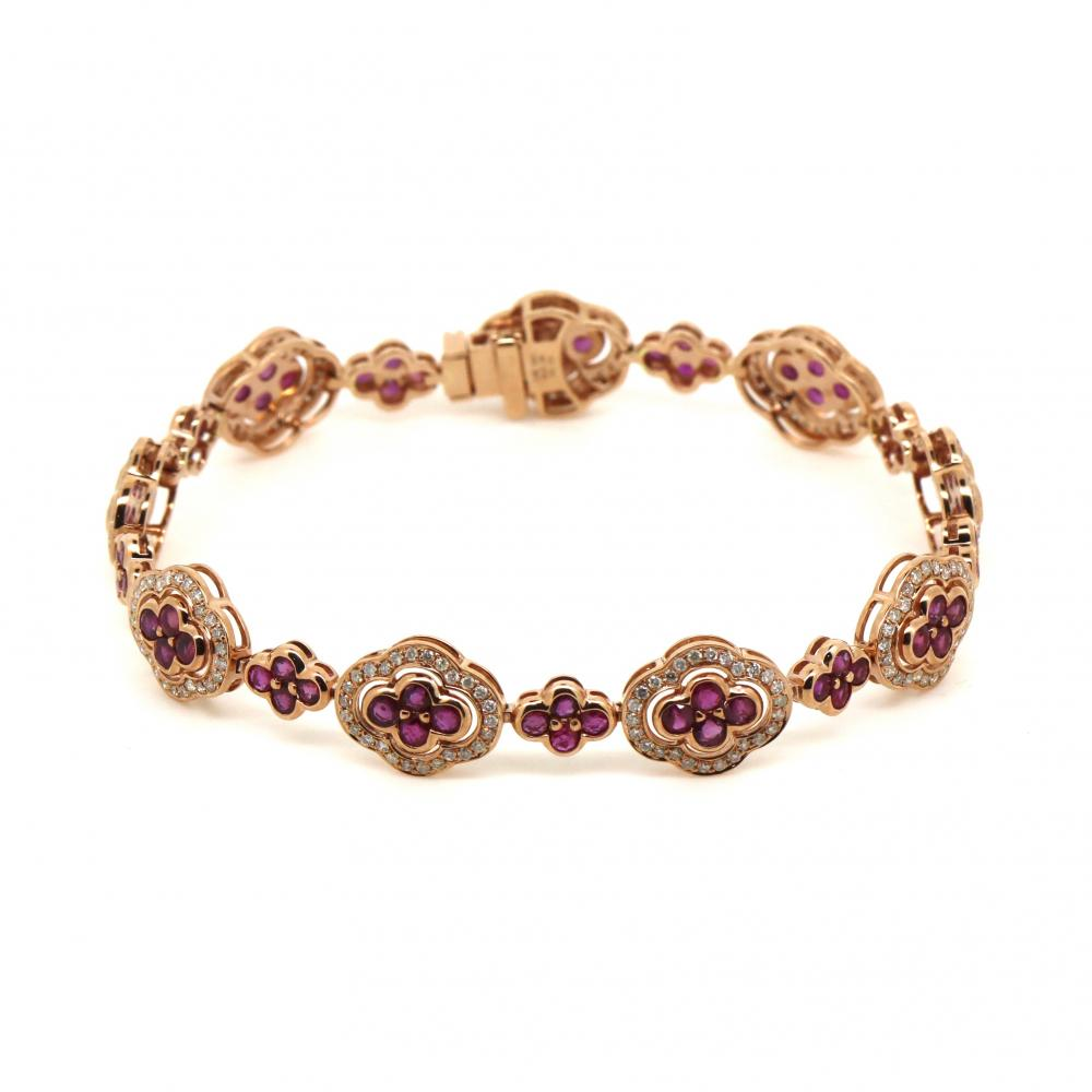 14K Rose Gold, Ruby and Diamond, Vintage Inspired Bracelet