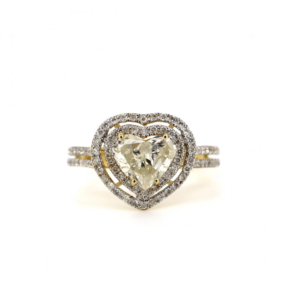14K Yellow Gold and Diamond, Double Halo Heart Ring