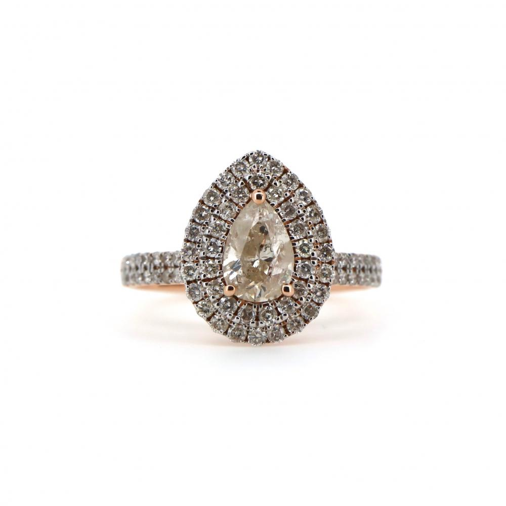 14K Rose Gold and Diamond, Double Halo Ring
