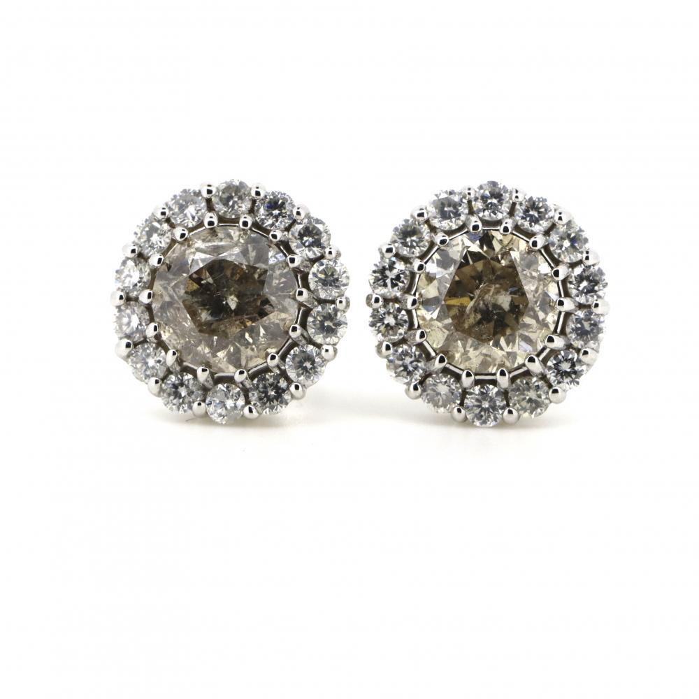 14K White Gold and Diamond, Halo Stud Earrings