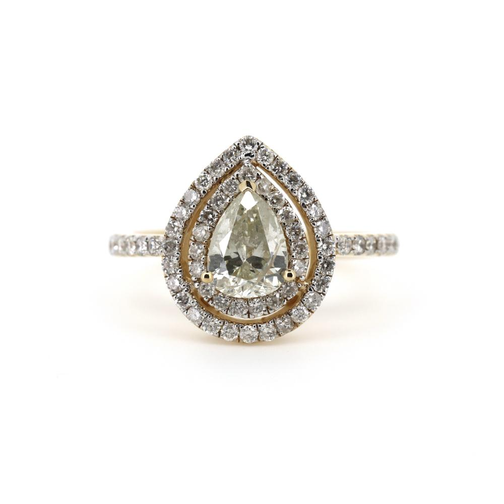 14K Yellow Gold and Diamond, Double Halo Ring
