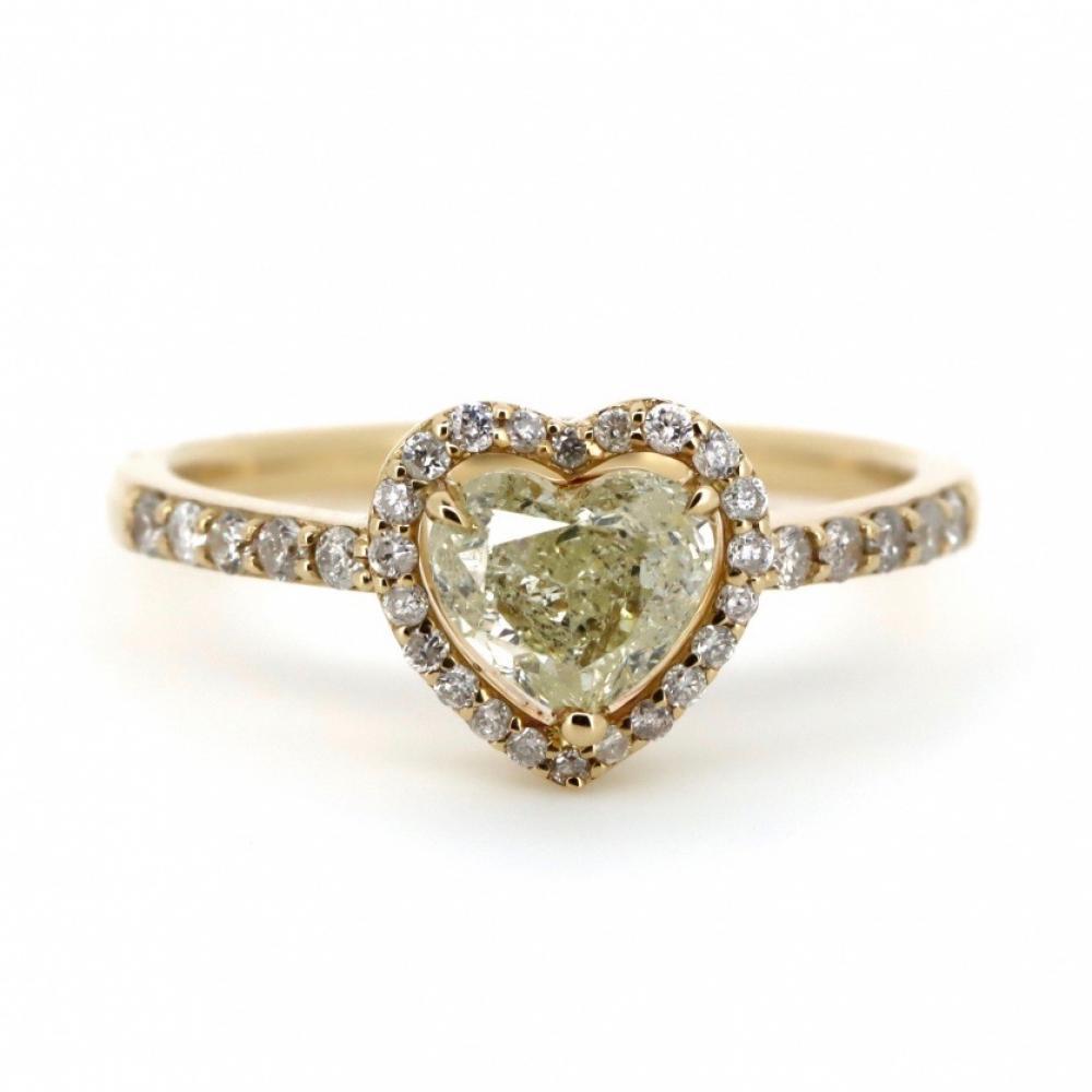 14K Yellow Gold and Diamond, Heart Shaped Halo Ring