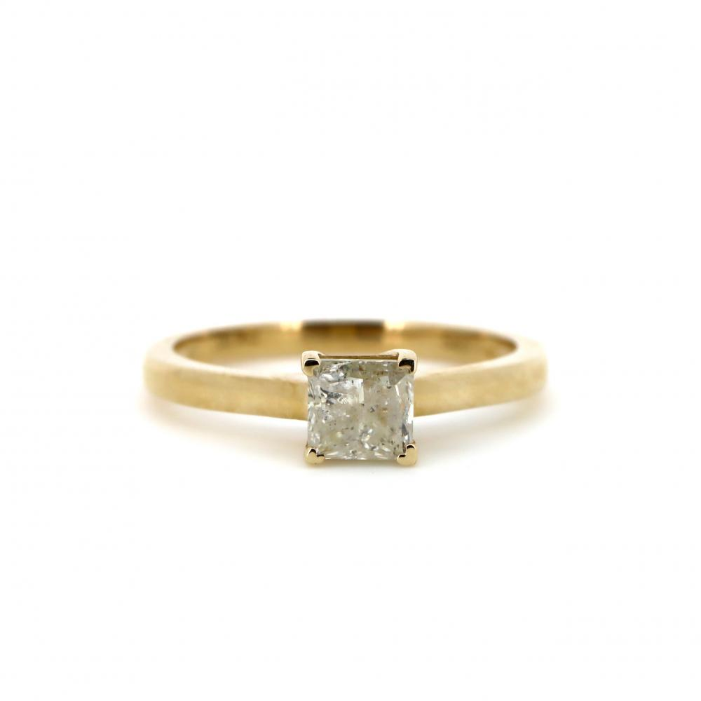 14K Yellow Gold, 0.96ct Diamond, Solitaire Ring