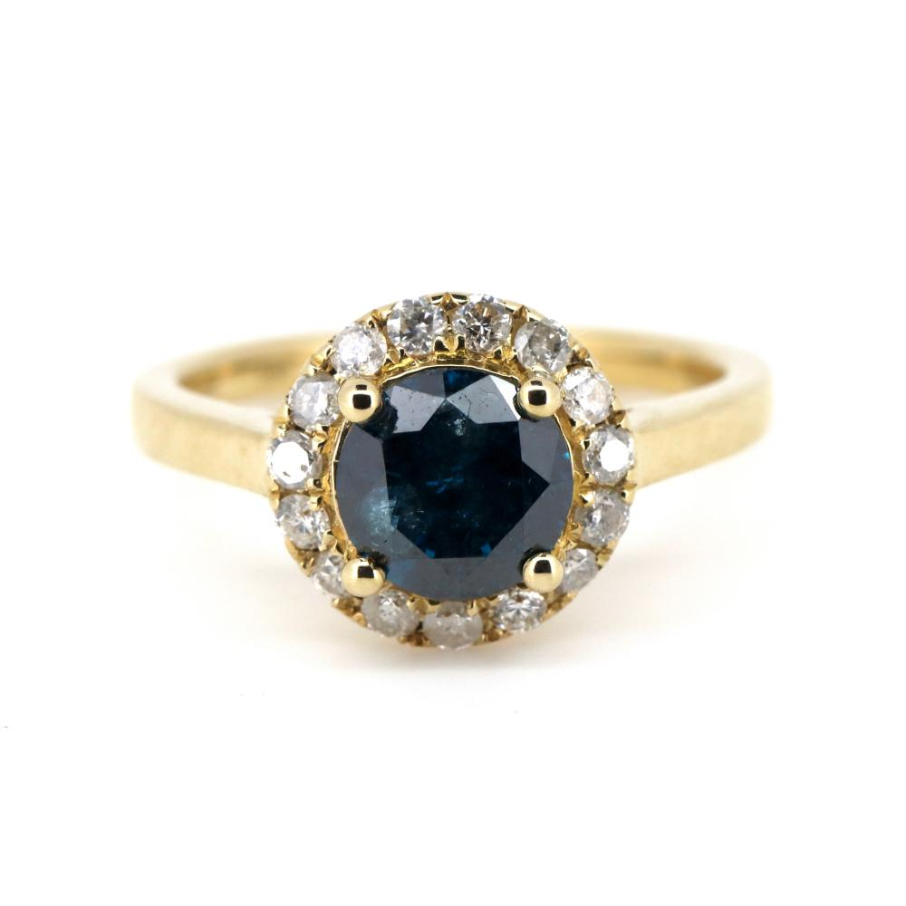 14K Yellow Gold and Diamond, Vintage Style Halo Ring