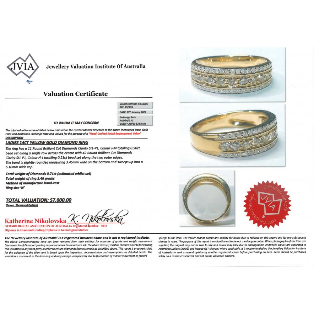 14K Yellow Gold and Diamond, Decorative Band Ring