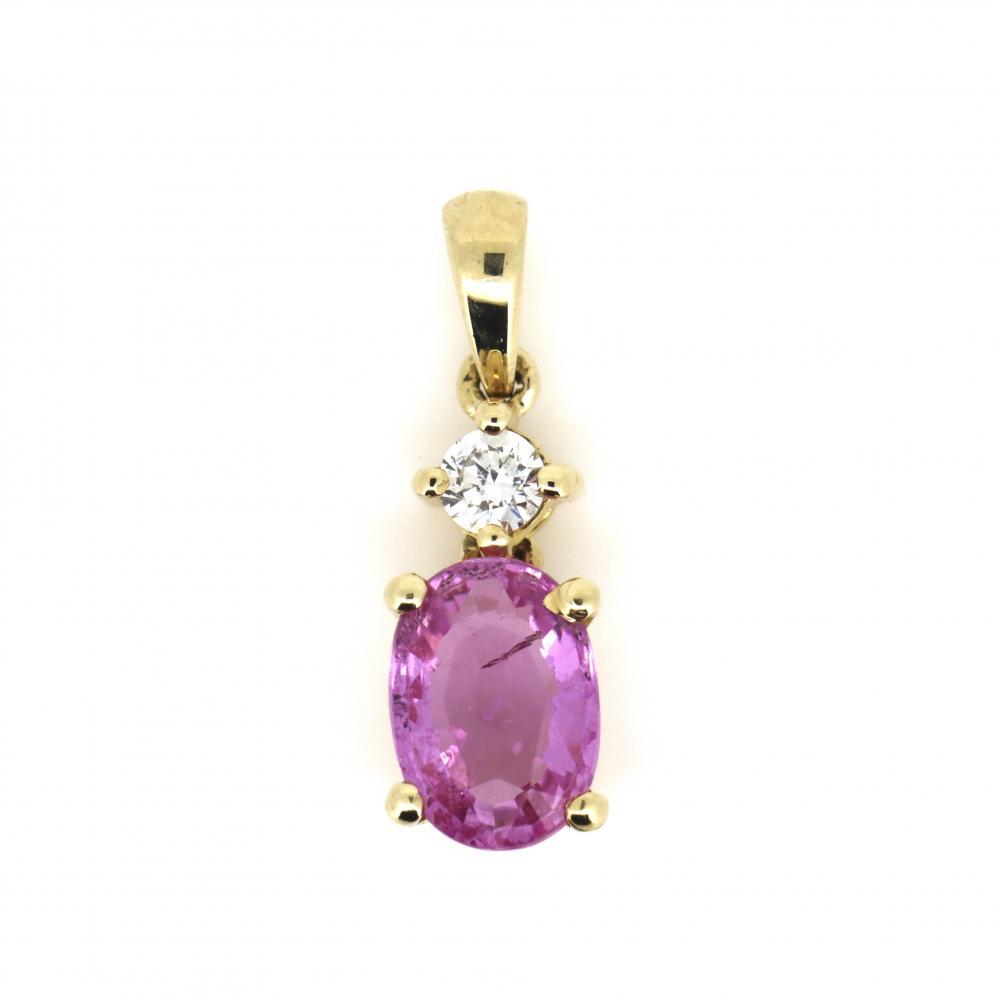 14K Yellow Gold, Pink Sapphire and Diamond, Drop Pendant