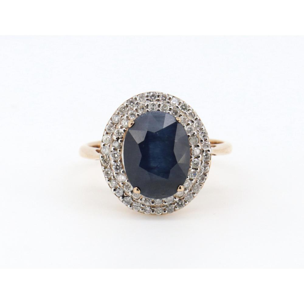 14ct Rose Gold Sapphire and Diamond Halo Ring