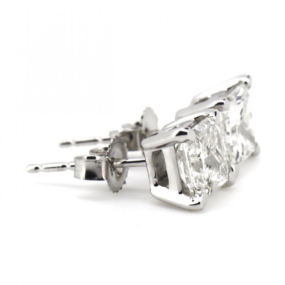 14K White Gold, 2.02ct TDW Diamond, Stud Earrings