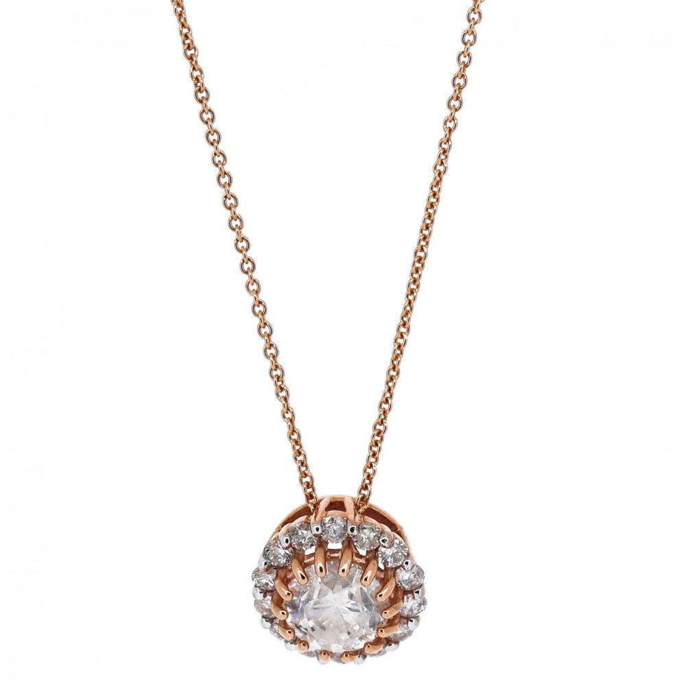 14K Rose Gold and Diamond, Halo Pendant Necklace