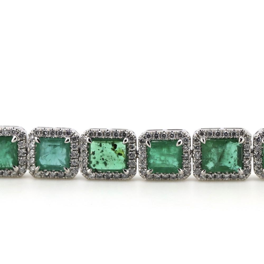 Platinum 950, Emerald and Diamond, Halo Line Bracelet