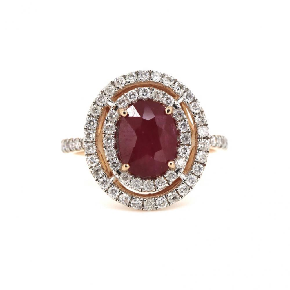 14K Rose Gold, Ruby and Diamond, Double Halo Ring