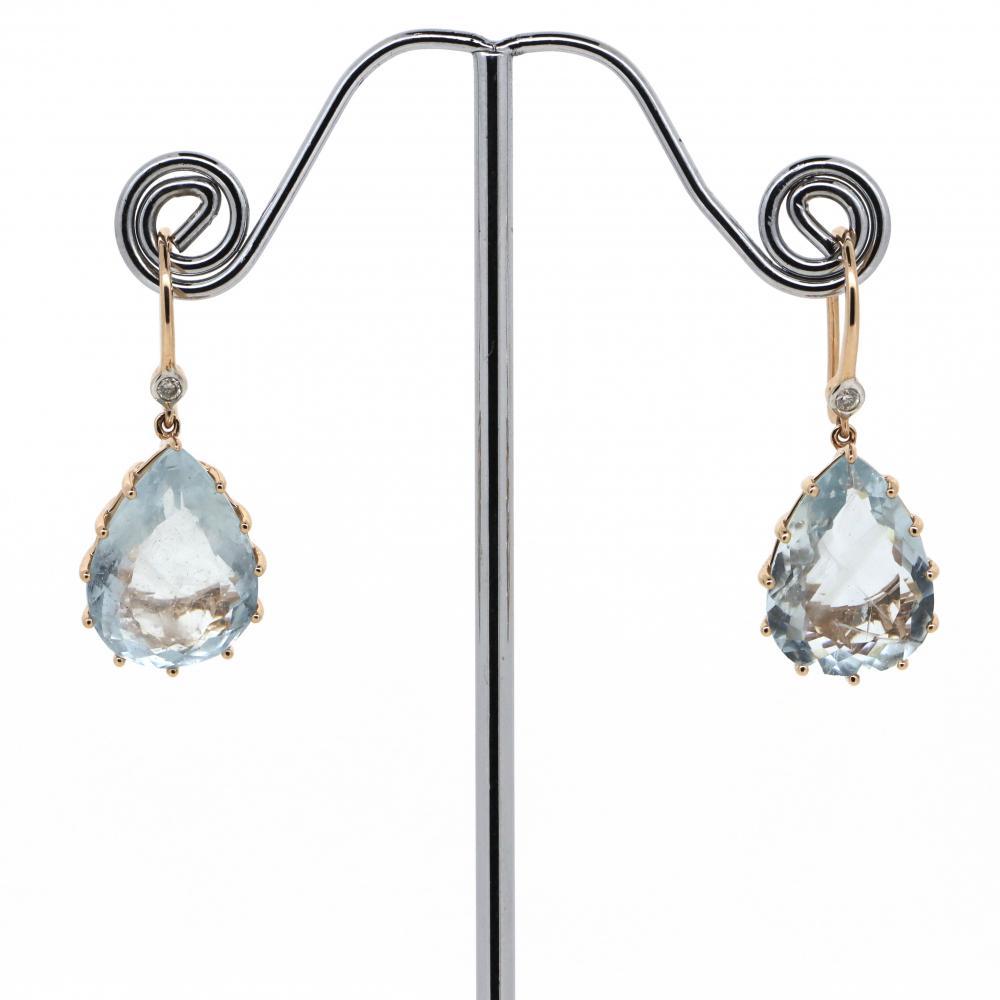 14K Rose Gold, Aquamarine and Diamond, Drop Earrings