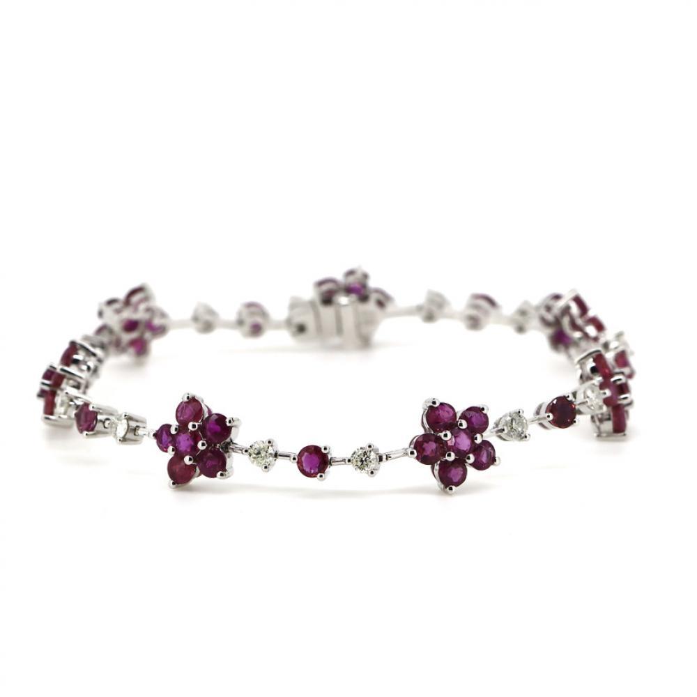 14K White Gold, Ruby and Diamond, Flower Design Bracelet