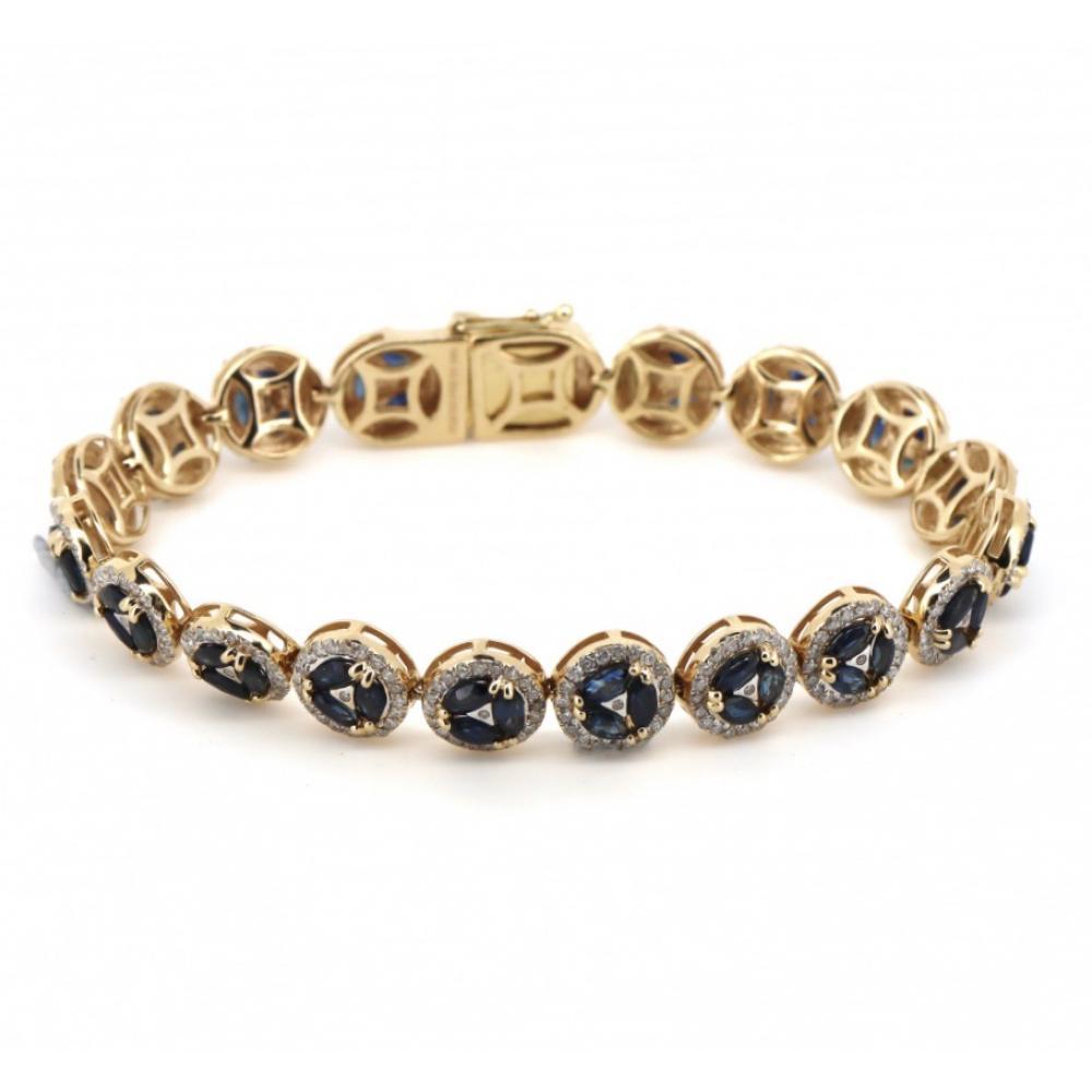 14K Yellow Gold, Sapphire and Diamond, Halo Bracelet