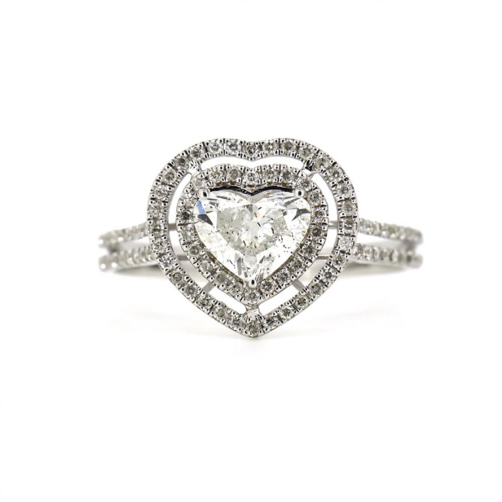 14K White Gold and Diamond, Heart Shaped Double Halo Ring