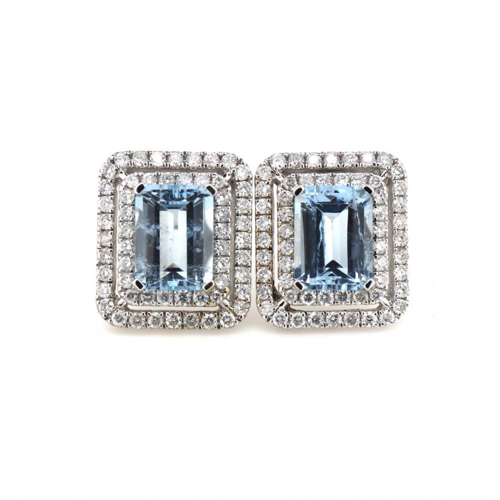 14K White Gold, Aquamarine and Diamond, Double Halo Stud Earrings