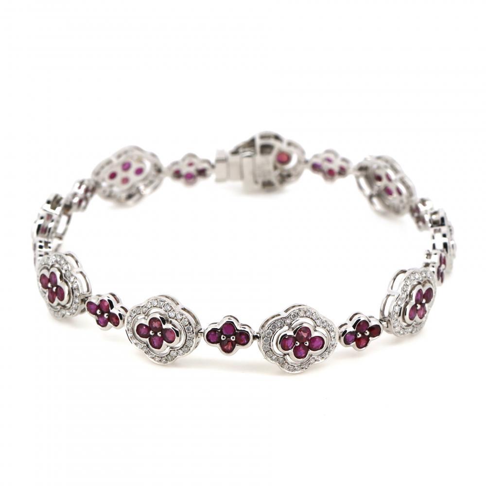 14K White Gold, Ruby and Diamond, Art Deco Style Bracelet