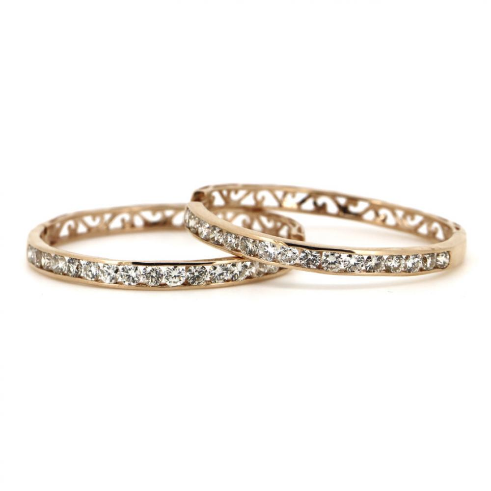 14K Rose Gold, 2.22ct TDW Diamond, Filigree Hoop Earrings