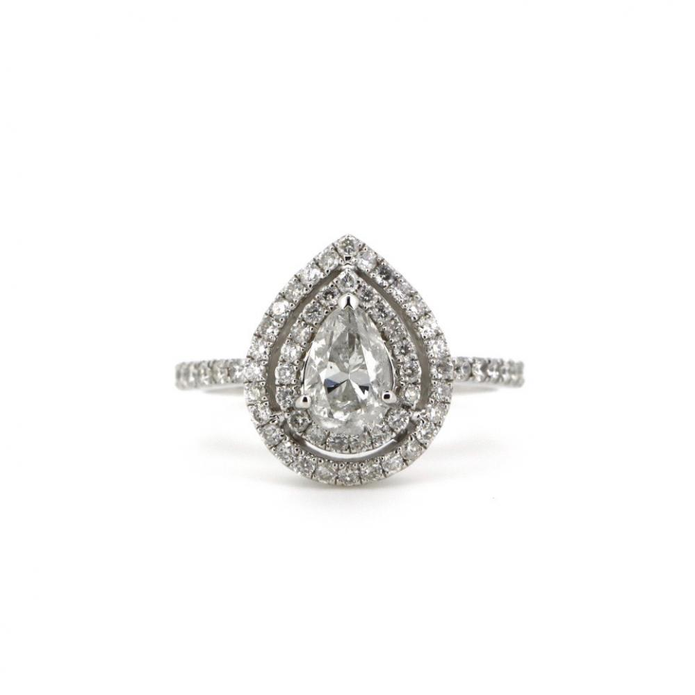 14K White Gold and Diamond, Double Halo Ring