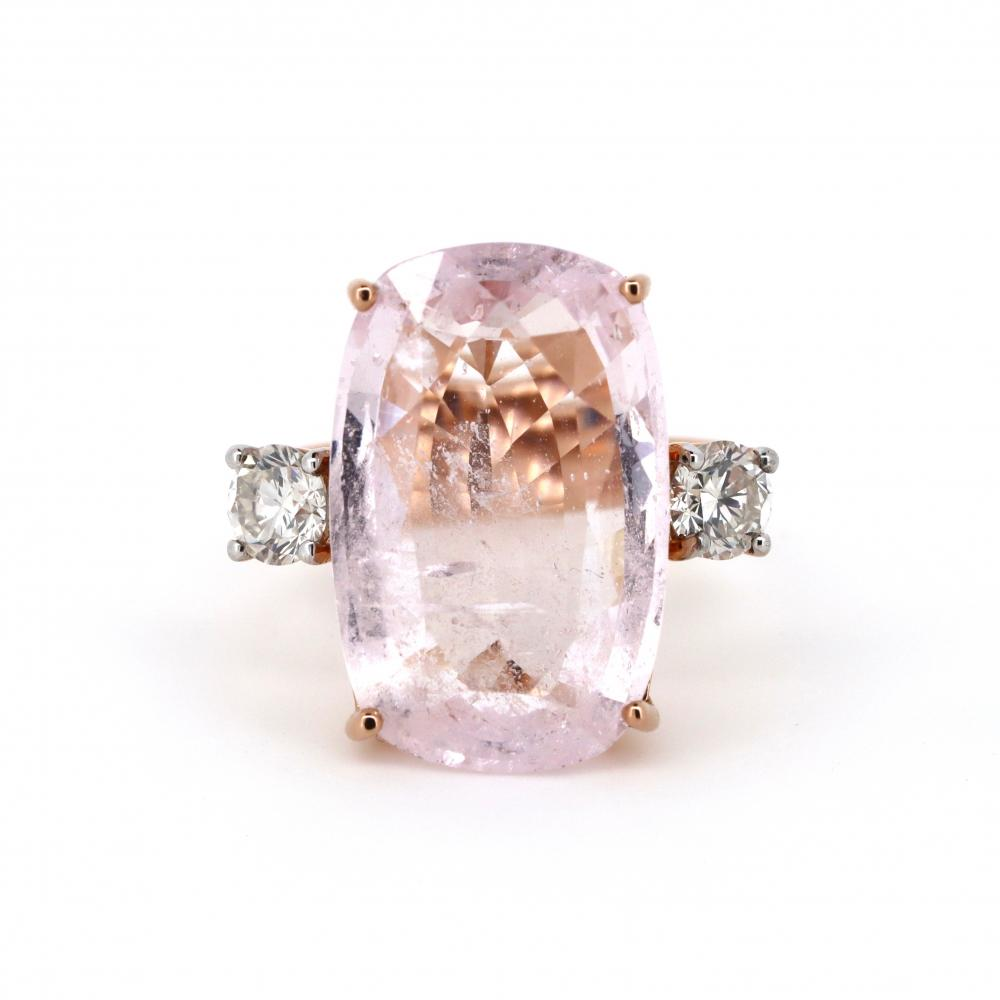 14K Rose Gold, Morganite and Diamond, Trilogy Style Ring