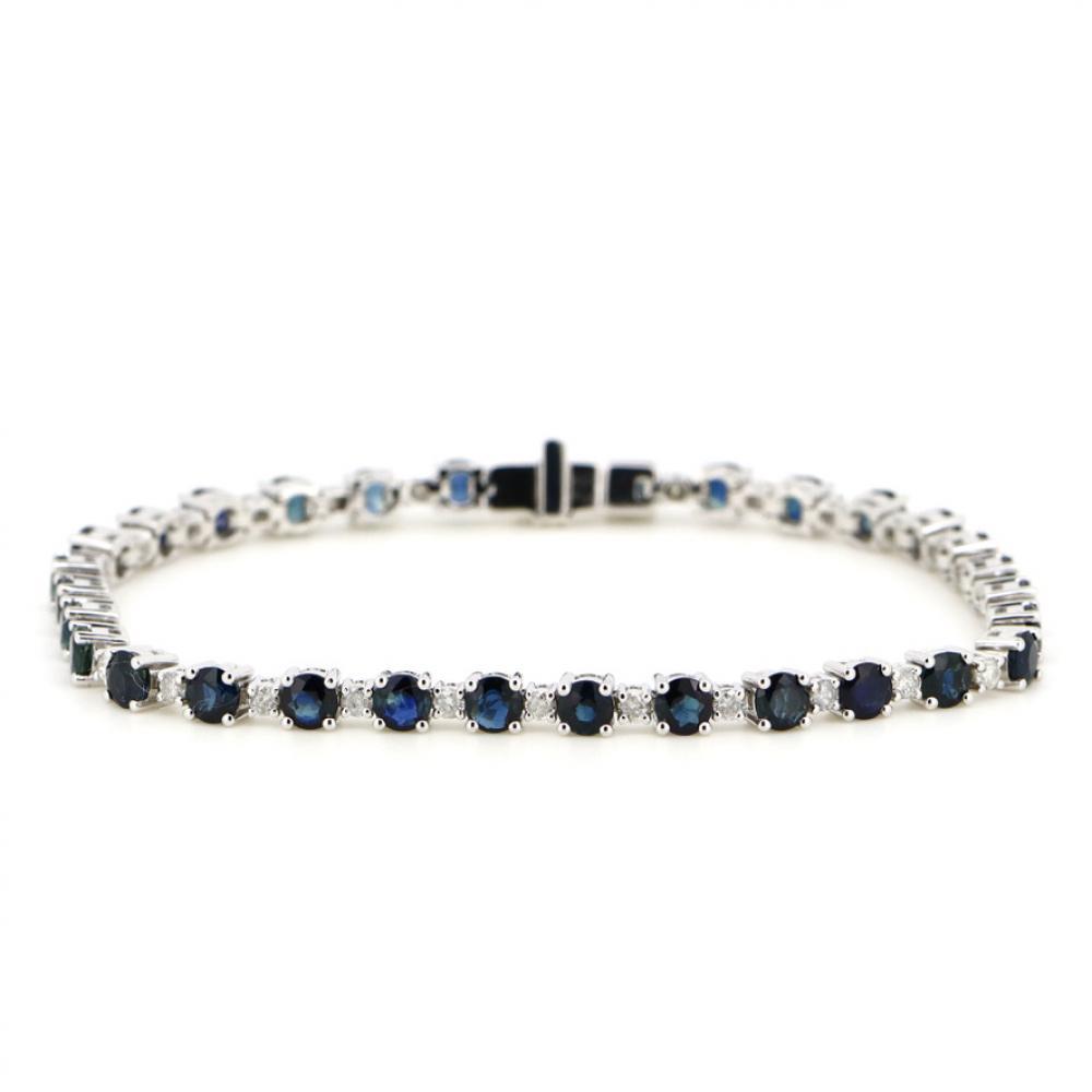 14K White Gold, Blue Sapphire and Diamond, Tennis Bracelet