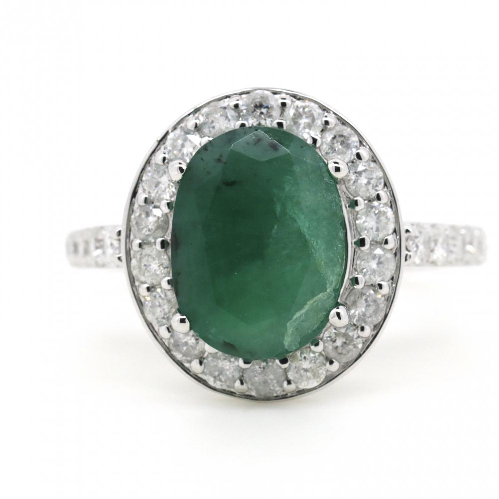 14K White Gold, Emerald and Diamond, Halo Ring