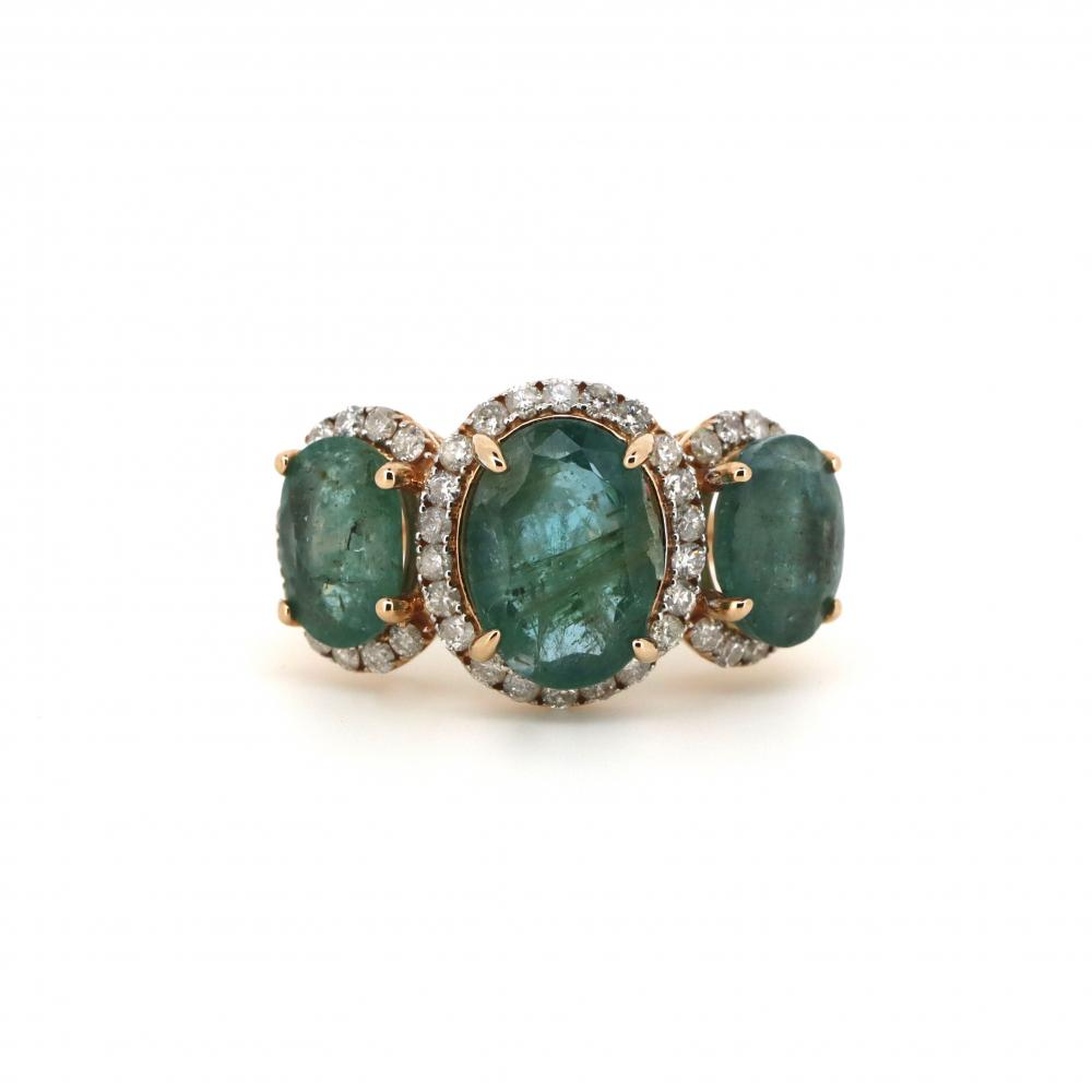 14K Rose Gold, Emerald and Diamond, Trilogy Ring