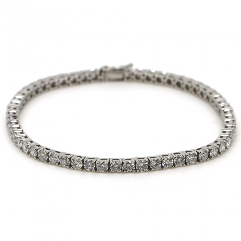 14K White Gold, 4.56ct TDW Diamond, Tennis Bracelet