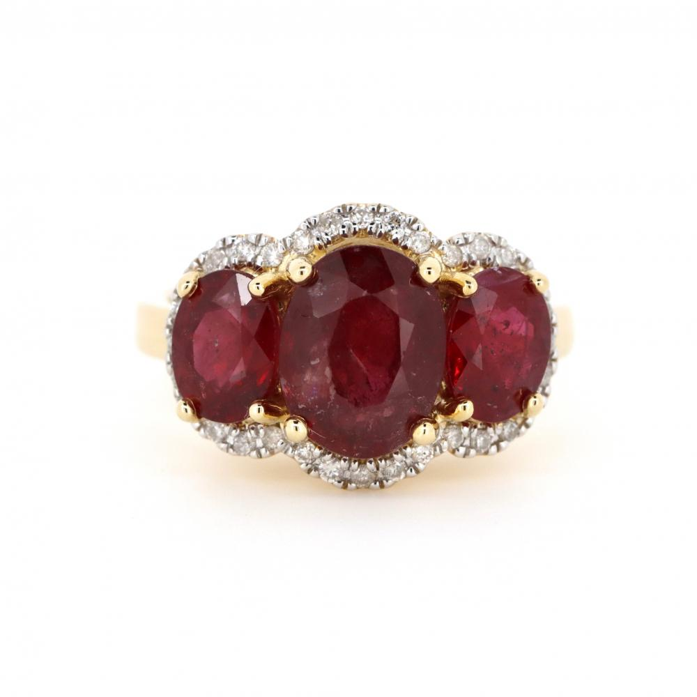 14K Yellow Gold, Ruby and Diamond, Trilogy Ring