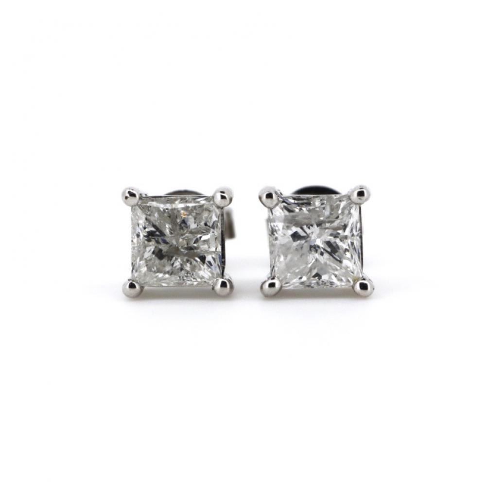 18K White Gold, 1.50ct TDW Diamond, Stud Earrings
