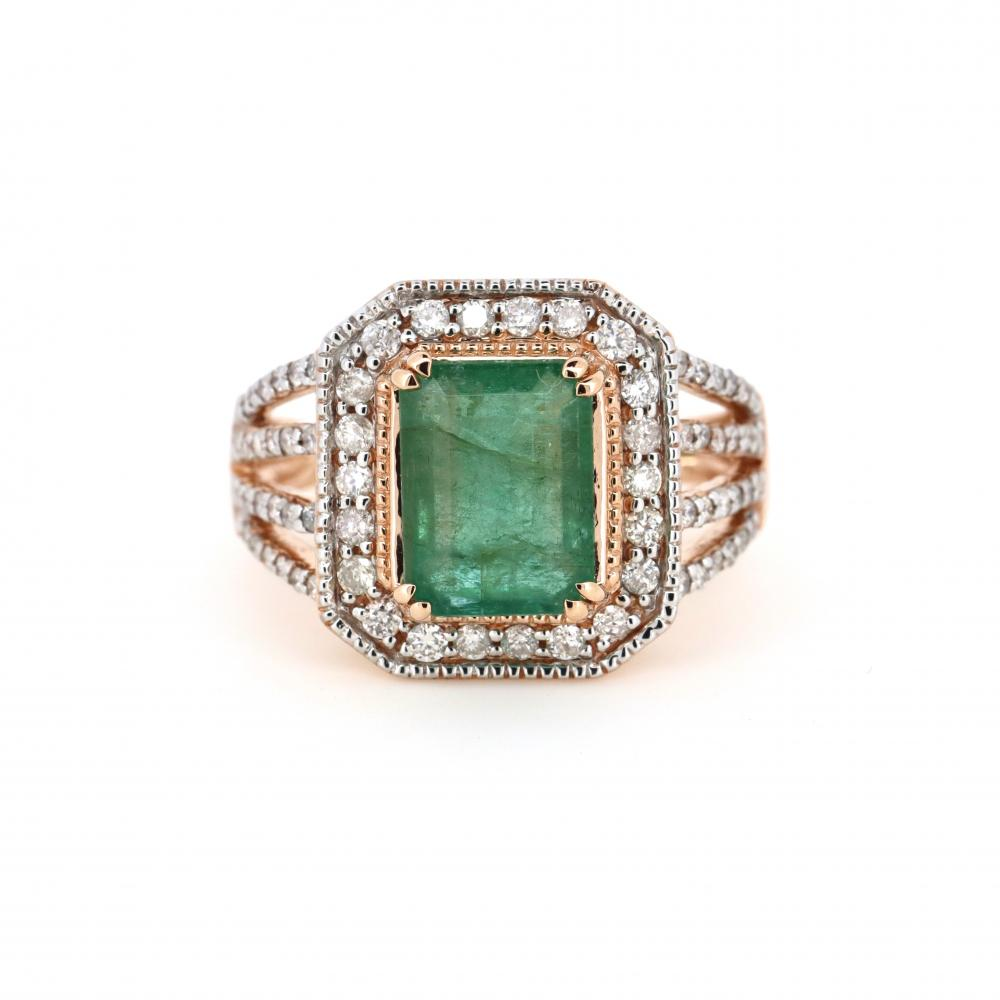 14K Rose Gold, Emerald and Diamond, Vintage Inspired Halo Ring