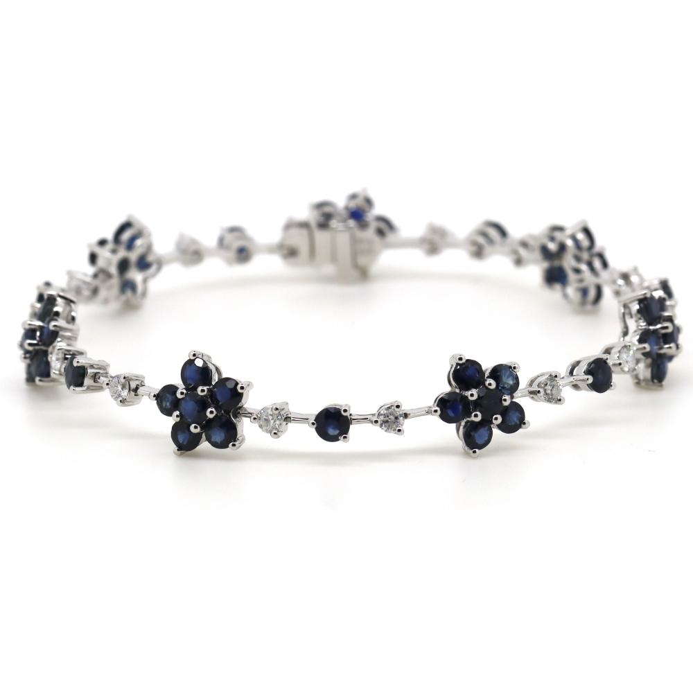 14K White Gold, Blue Sapphire and Diamond, Floral Design Bracelet