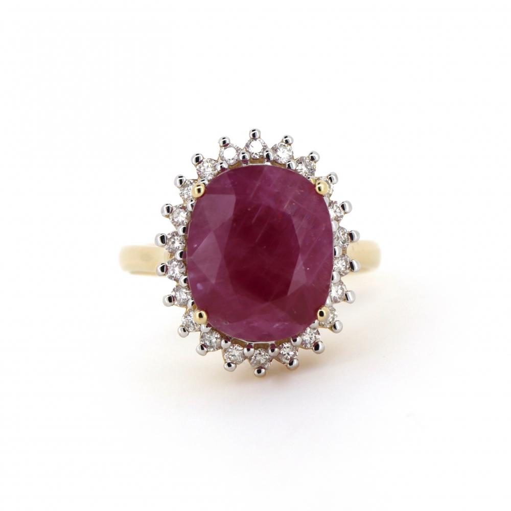 14K Yellow Gold, Ruby and Diamond, Antique Design Halo Ring