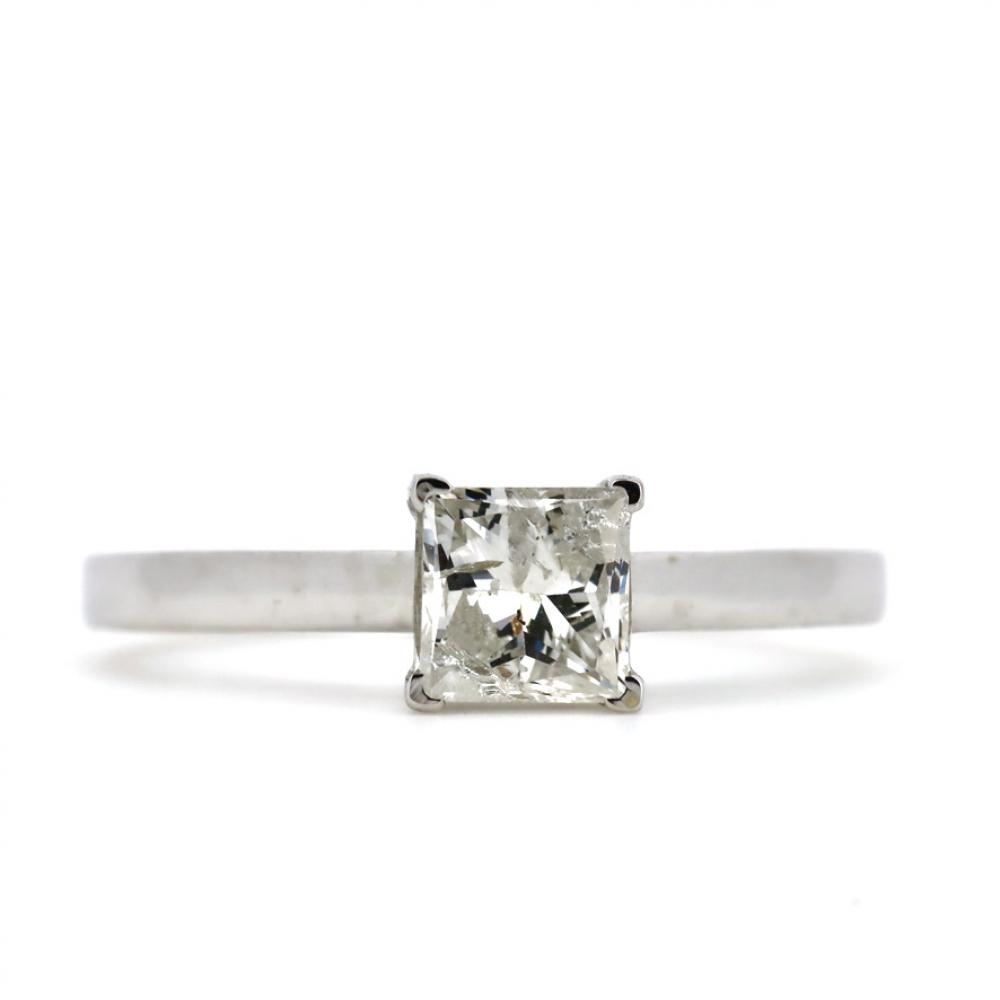 14K White Gold, 0.97ct Diamond, Solitaire Ring