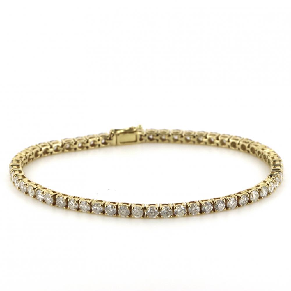 14K Yellow Gold, 4.13ct TDW Diamond, Tennis Bracelet