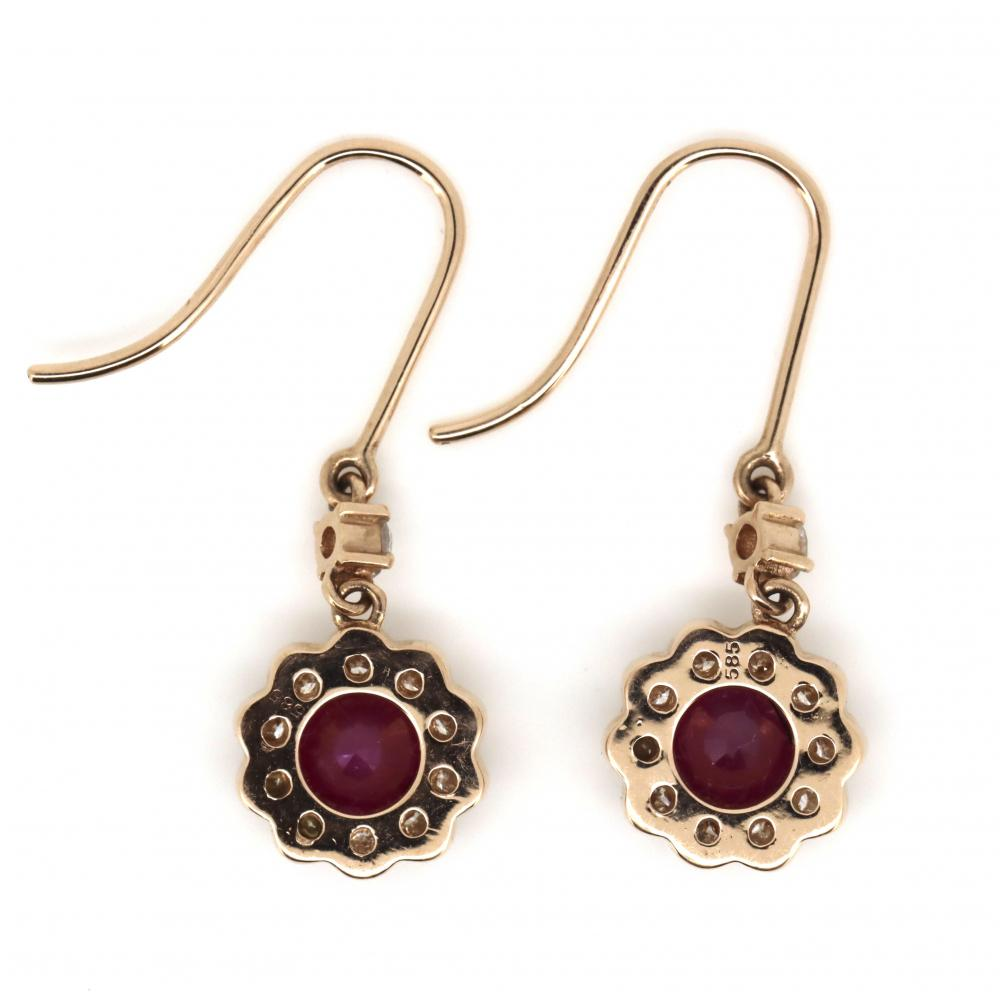 14K Rose Gold, Ruby and Diamond, Floral Design Halo Drop Earrings