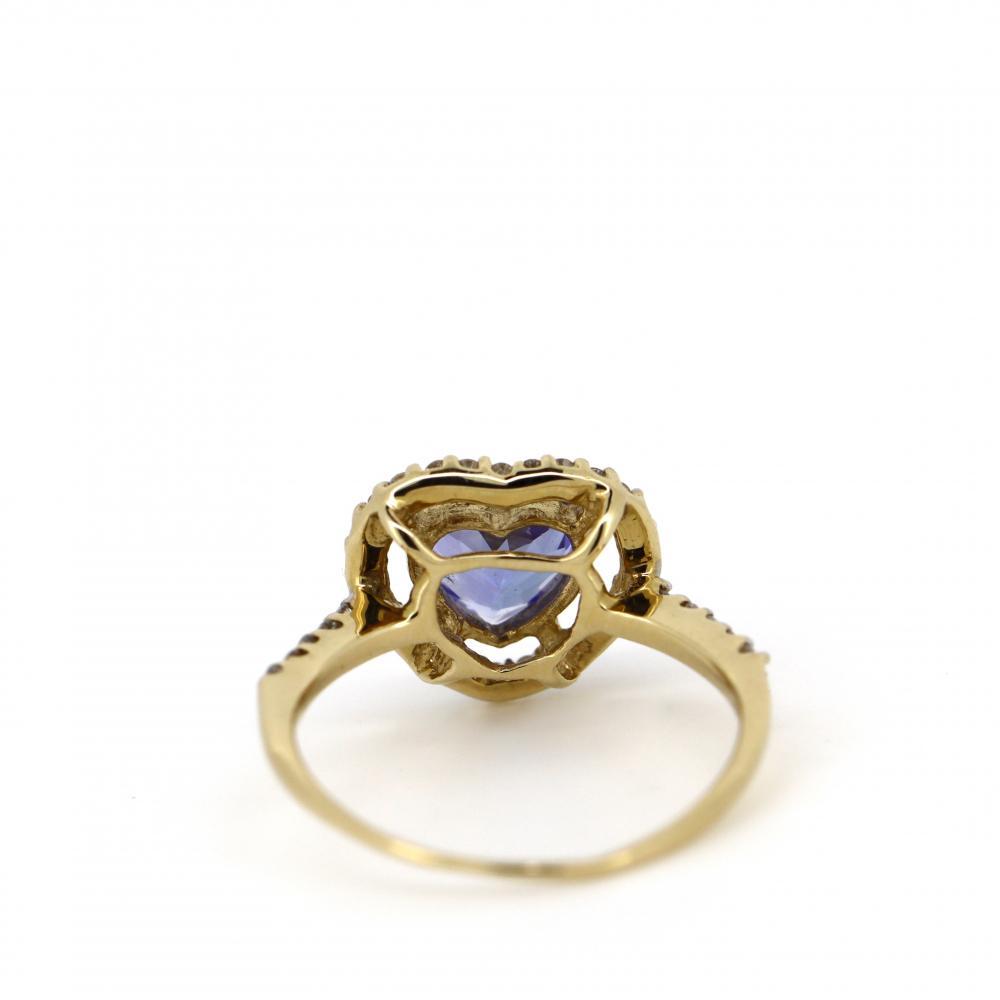 14K Yellow Gold, Tanzanite and Diamond, Vintage Style Heart Ring