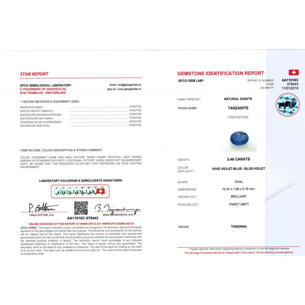 3.46ct Certified, Tanzanite
