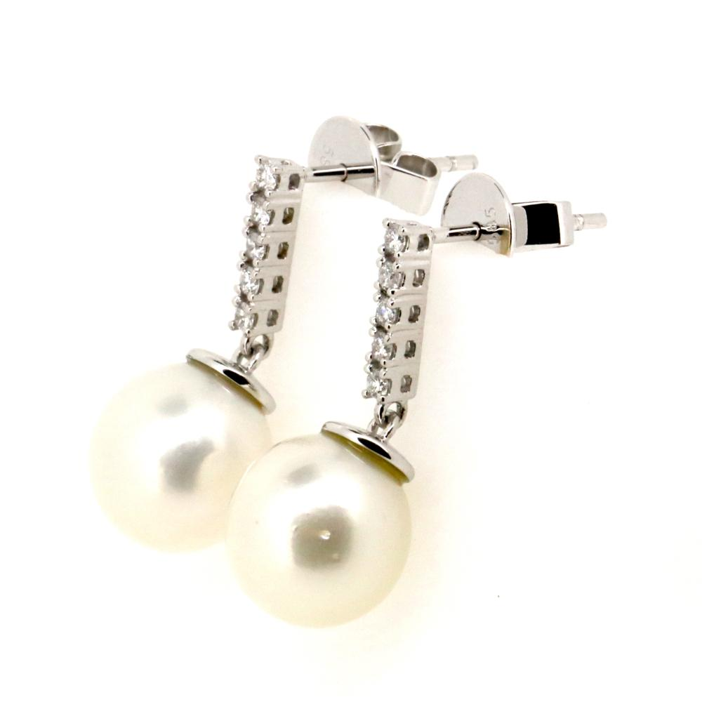 14K White Gold, Cultured South Sea Pearl and Diamond, Vintage Style Drop Earrings