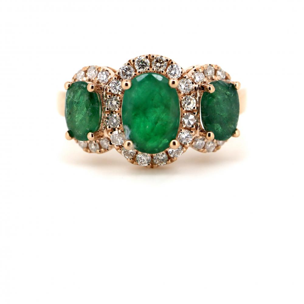 14K Yellow Gold, Emerald and Diamond, Vintage Style Trilogy Ring